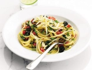 Tomato and olive linguine