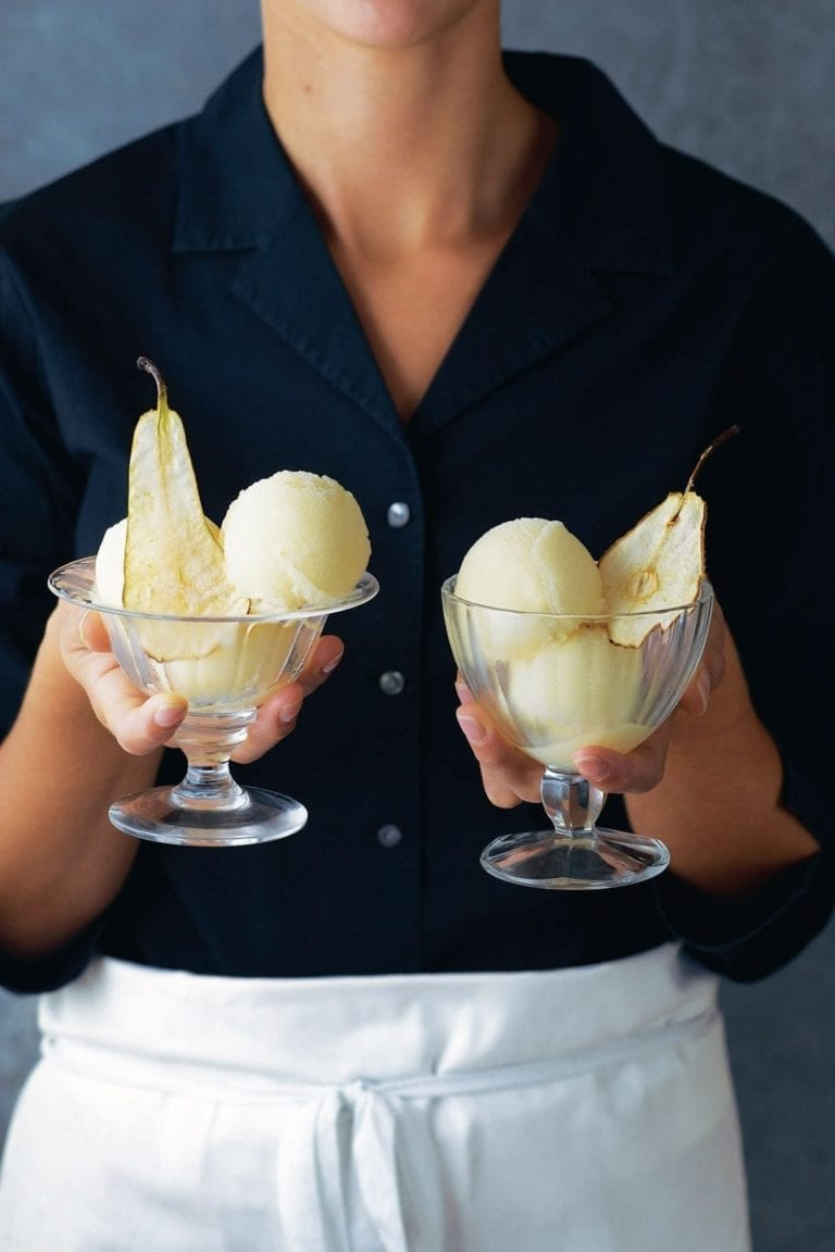 Pear sorbet with pear wafers