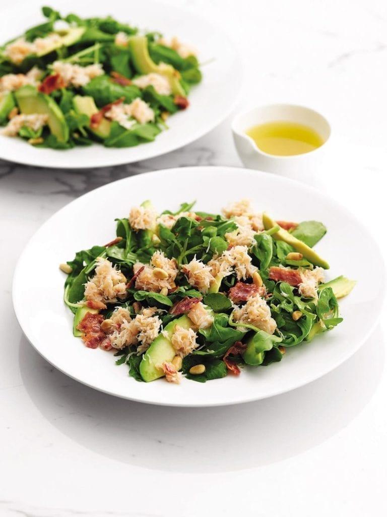 Crab, avocado and bacon salad
