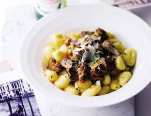 Tuscan sausage and porcini sauce with gnocchi
