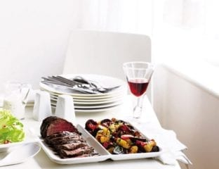 Spiced roast beef with roasted vegetables recipe