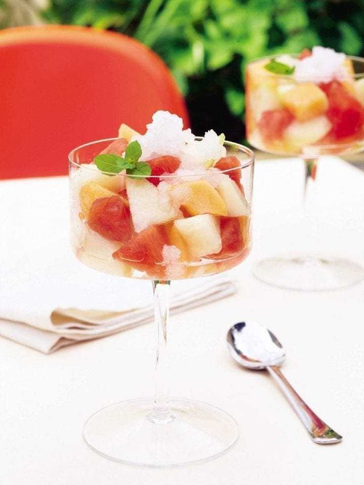 Melon salad with grappa granita
