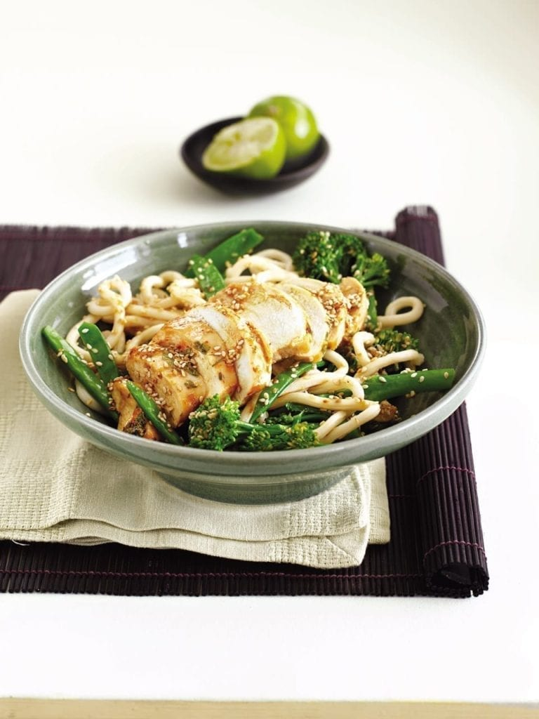 Chilli chicken udon noodles with ginger