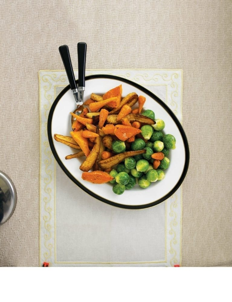 Sticky maple roast root vegetables