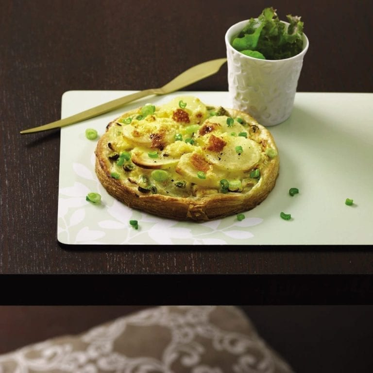 Potato, Cheshire cheese and spring onion tarts