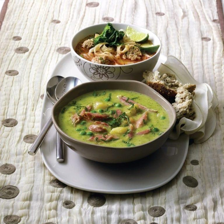 Ham hock, split pea and mint stew