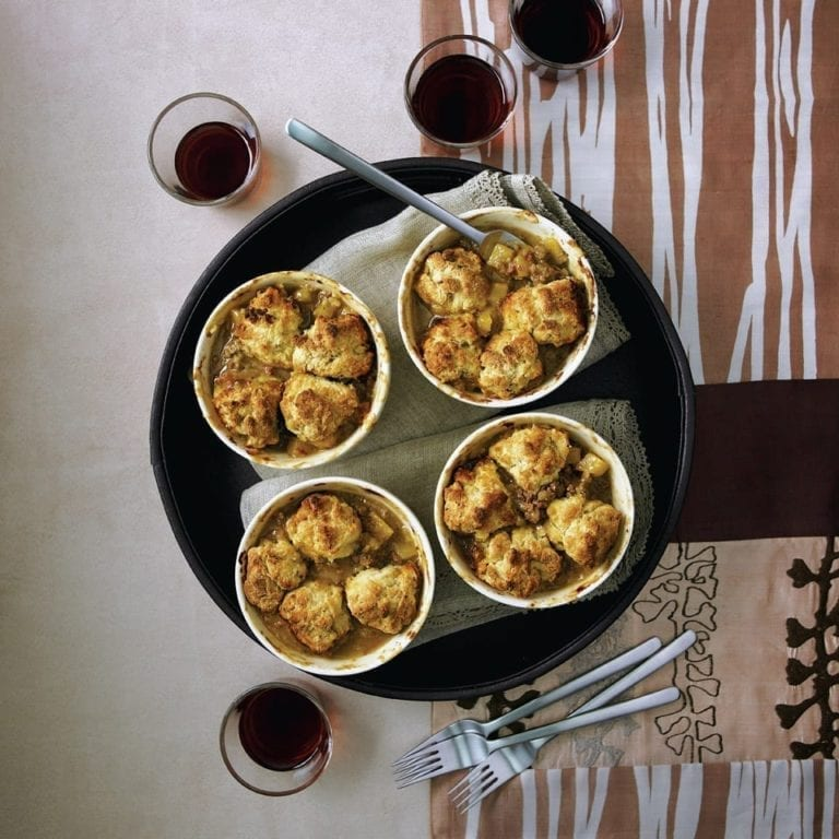 Curried lamb mince cobbler