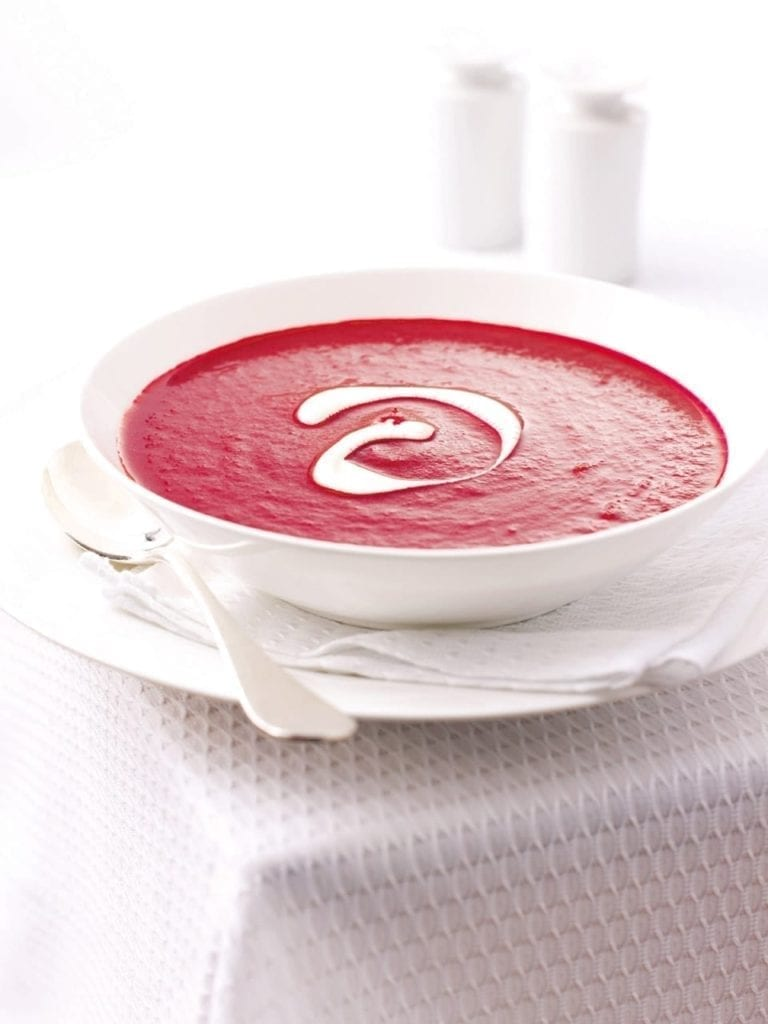Beetroot, vodka and soured cream soup