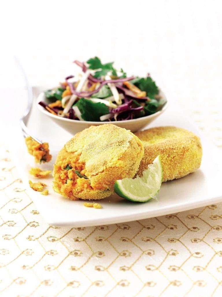 Asian potato cakes with oriental coleslaw