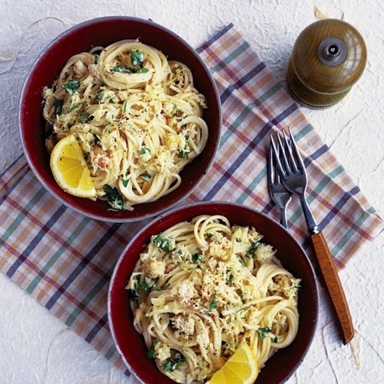 Spaghetti with fresh crab