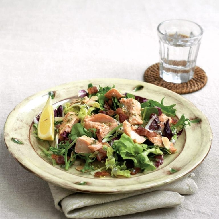 Grilled trout, bacon and almond salad