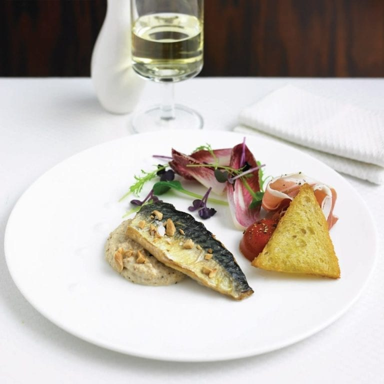 Confit mackerel fillet with Serrano ham and gazpacho jelly