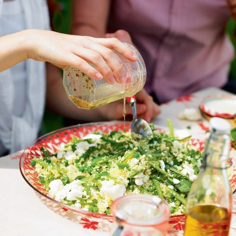 Couscous and green bean salad with crumbled Wensleydale