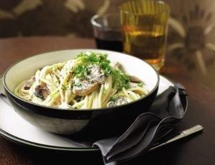 Creamy mushroom and lemon spaghetti
