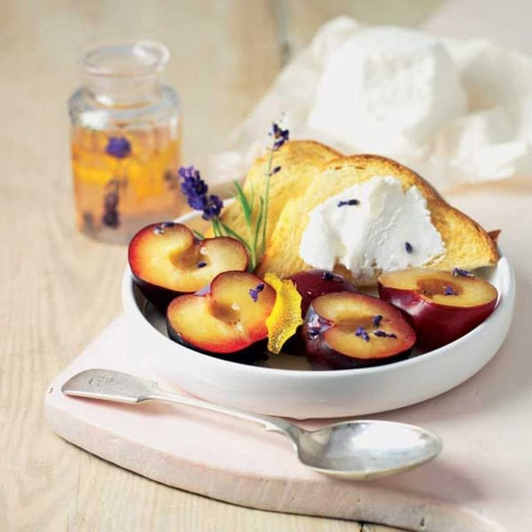 French mild goat's cheese with plums in lavender syrup