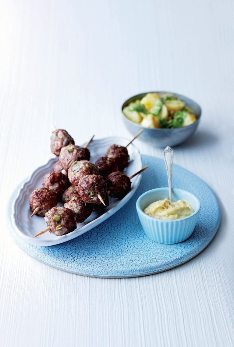 Lamb kebabs with Dijonnaise potatoes