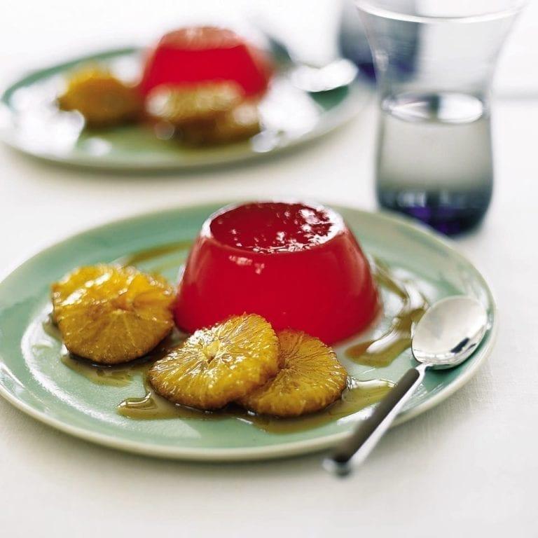 Orange and Campari jellies with caramelised vanilla oranges