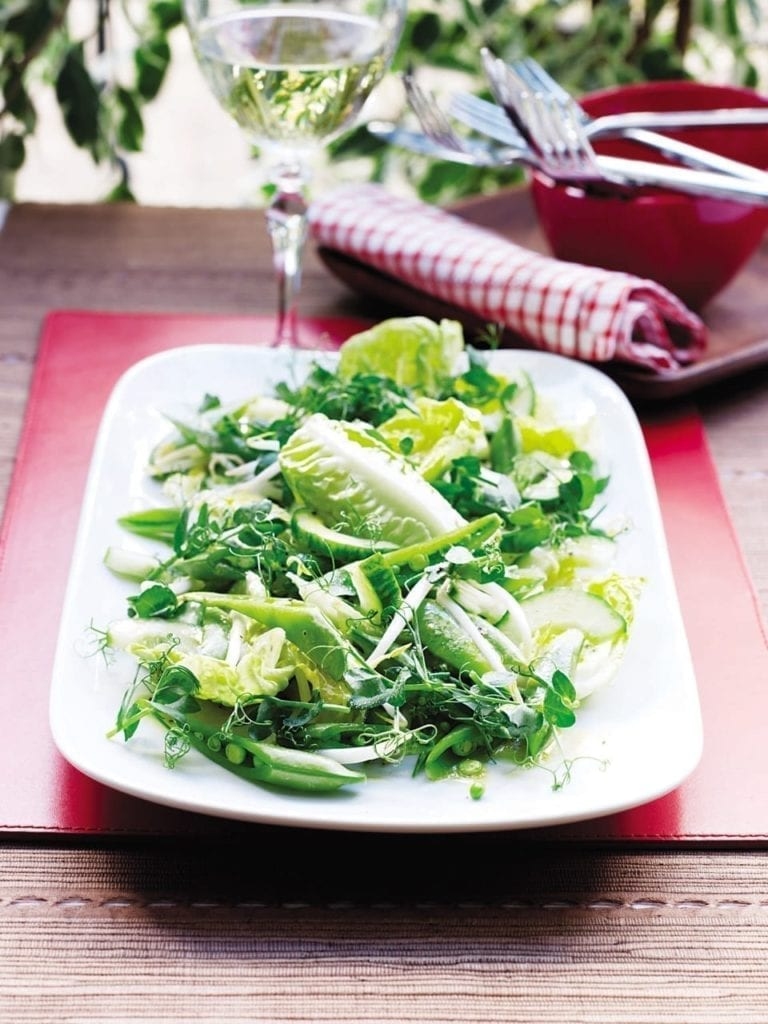 Pea shoot and sprout salad
