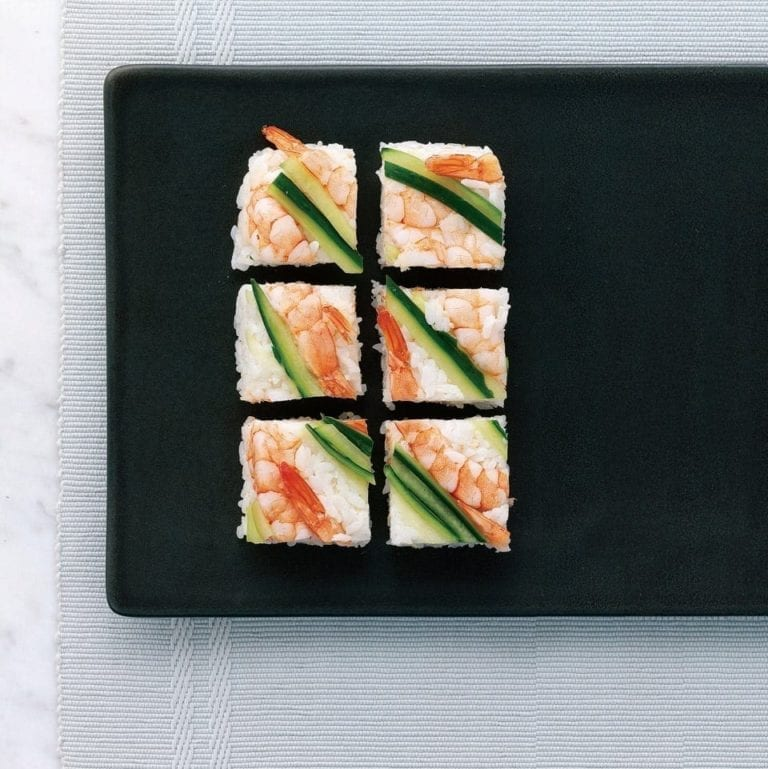 Prawn and cucumber squares (oshi sushi)