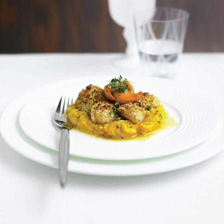 Seared scallops with Parmesan crust and squash purée