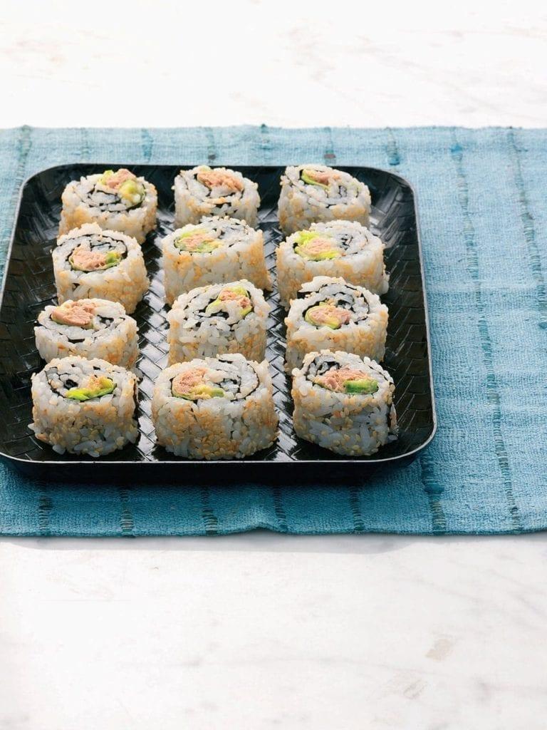 Tuna and avocado inside-out maki (uramaki)
