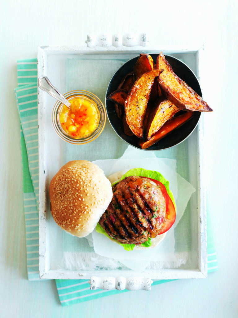 Turkey and apricot burgers with sweet potato wedges