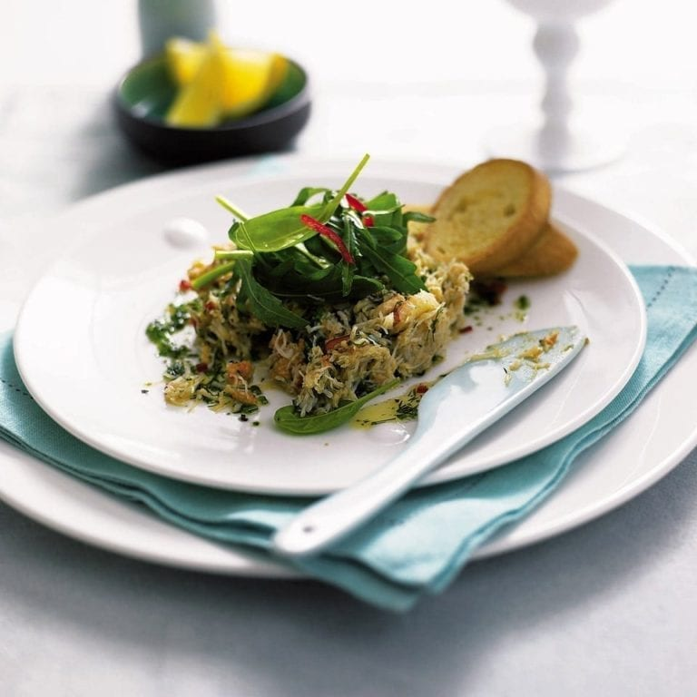 Herb and chilli crab salad with crostini