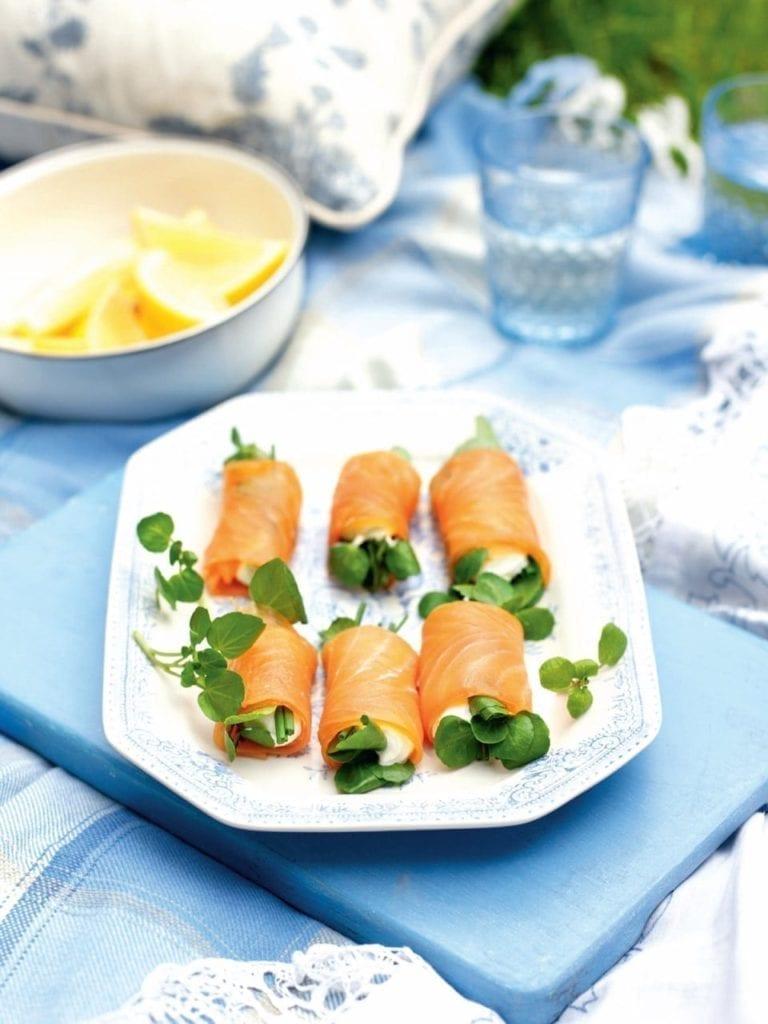 Smoked salmon, cream cheese and watercress rolls