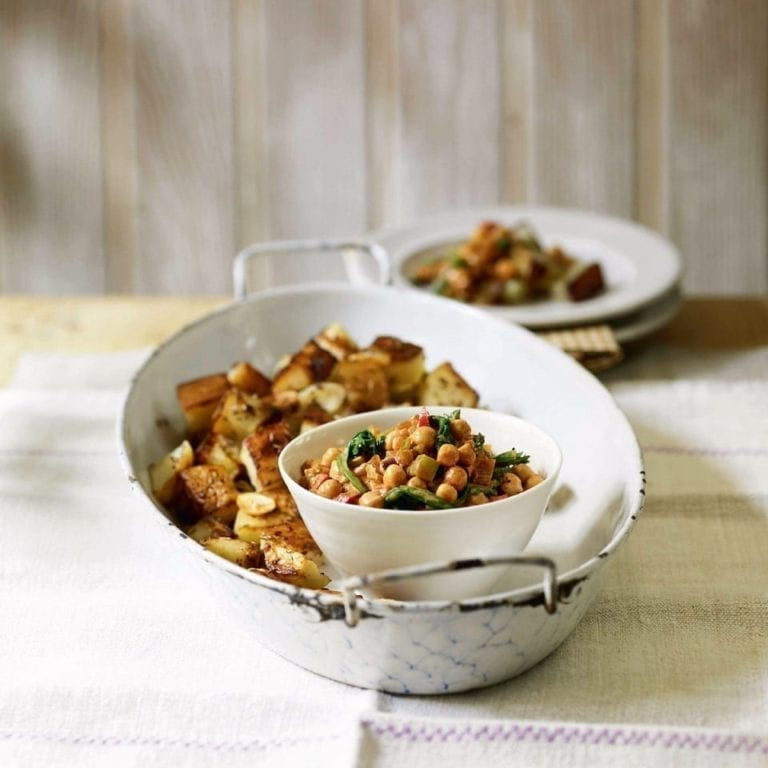 Spiced chickpeas with cumin potatoes
