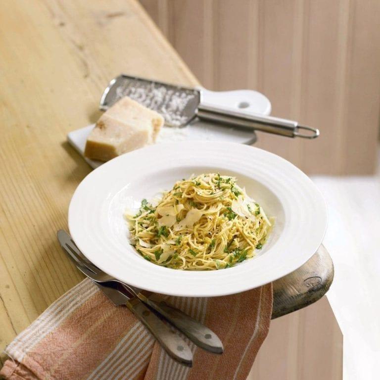 Spaghetti with butternut squash and aubergine pesto