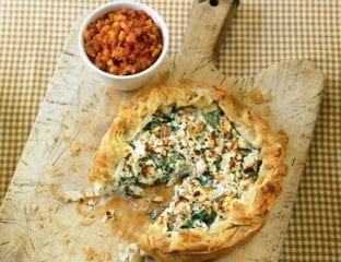 Feta and spinach free-form pie with tomato relish