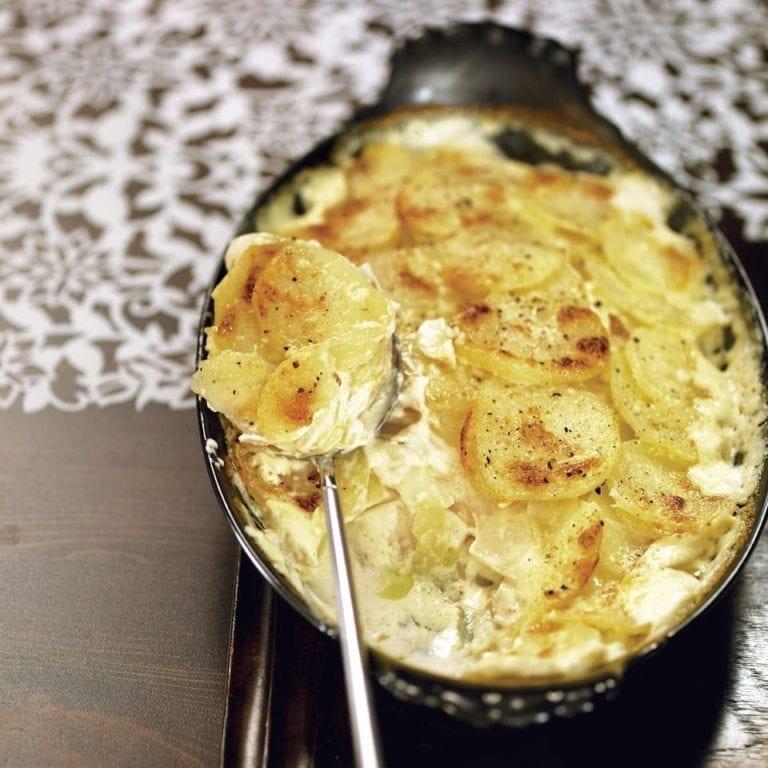Potato, celeriac and apple gratin