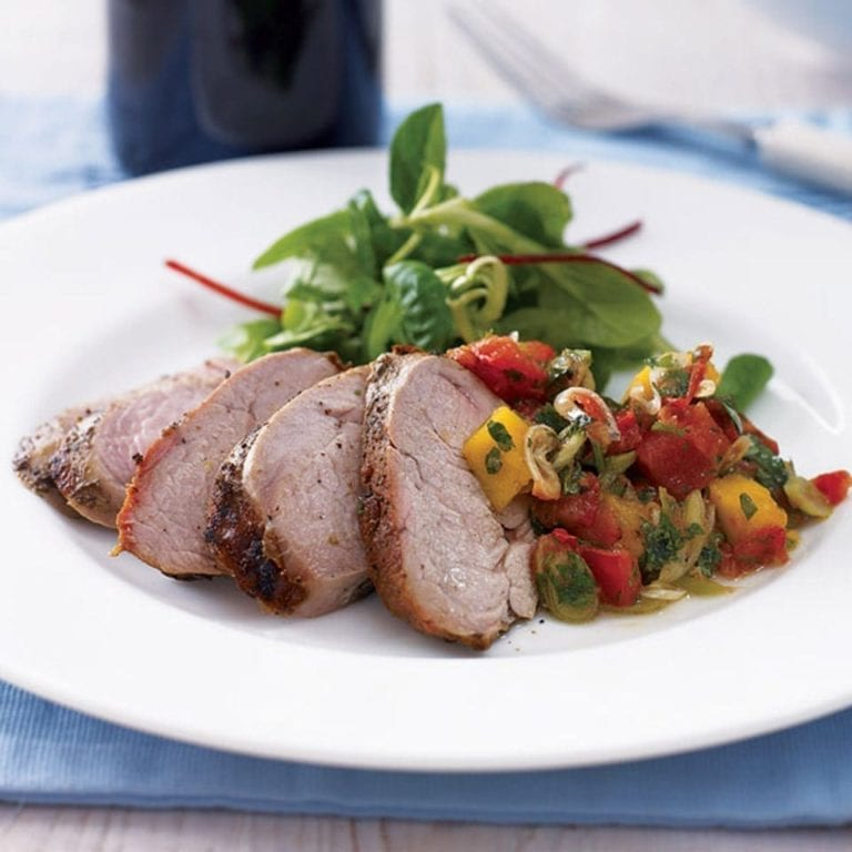 Jerk pork fillet with spicy tomato and mango relish