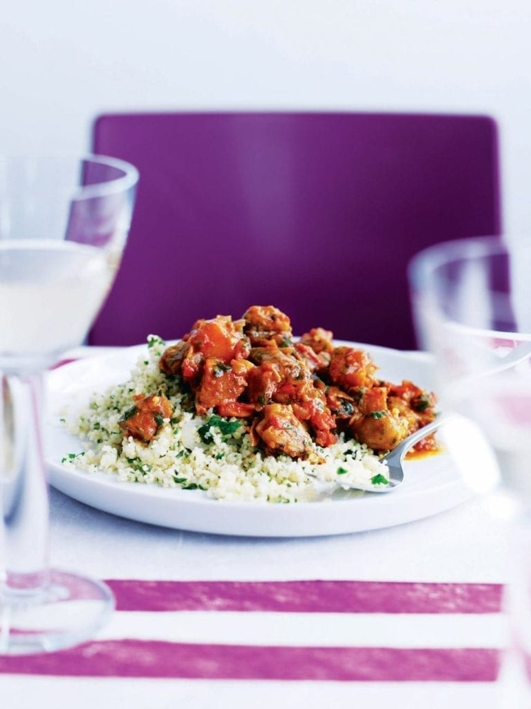 Aubergine and chestnut tagine with couscous