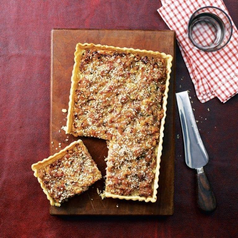 Sage and onion sausage tart