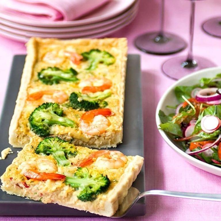 Crab, prawn and broccoli tart
