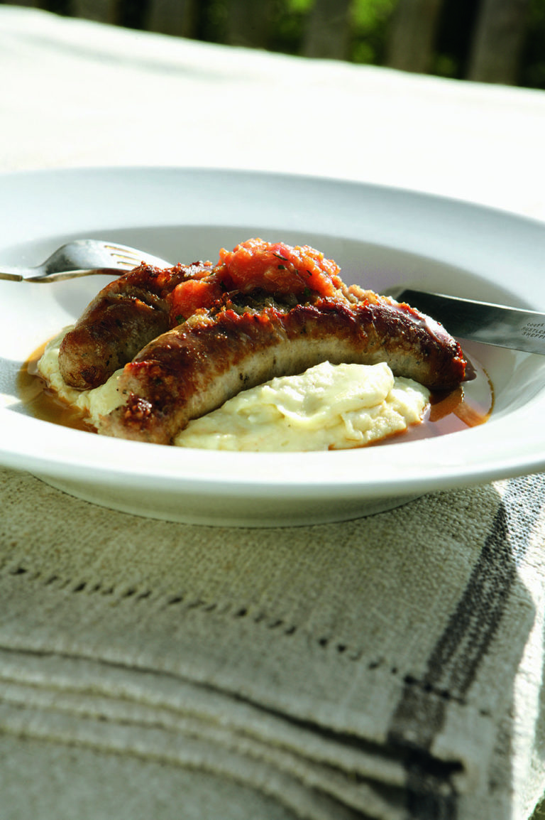 Sausages with white bean mash