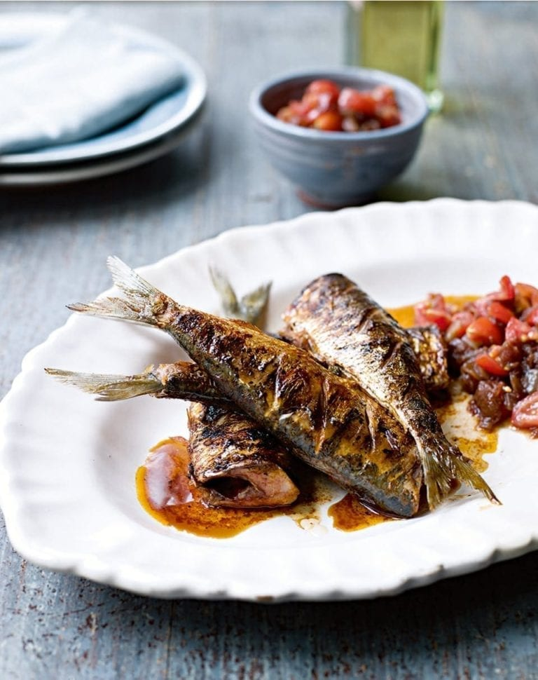 Smoky griddled sardines with sweet tomato chutney