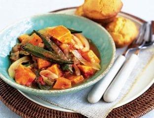 Sweet potato gumbo with cornbread