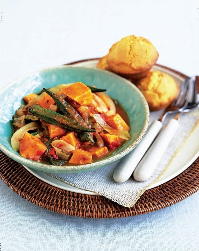 Sweet potato gumbo with cornbread