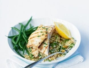 Griddled chicken with barley couscous