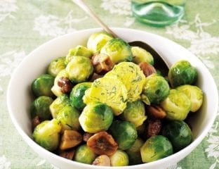Brussels sprouts with chestnuts and orange herb butter