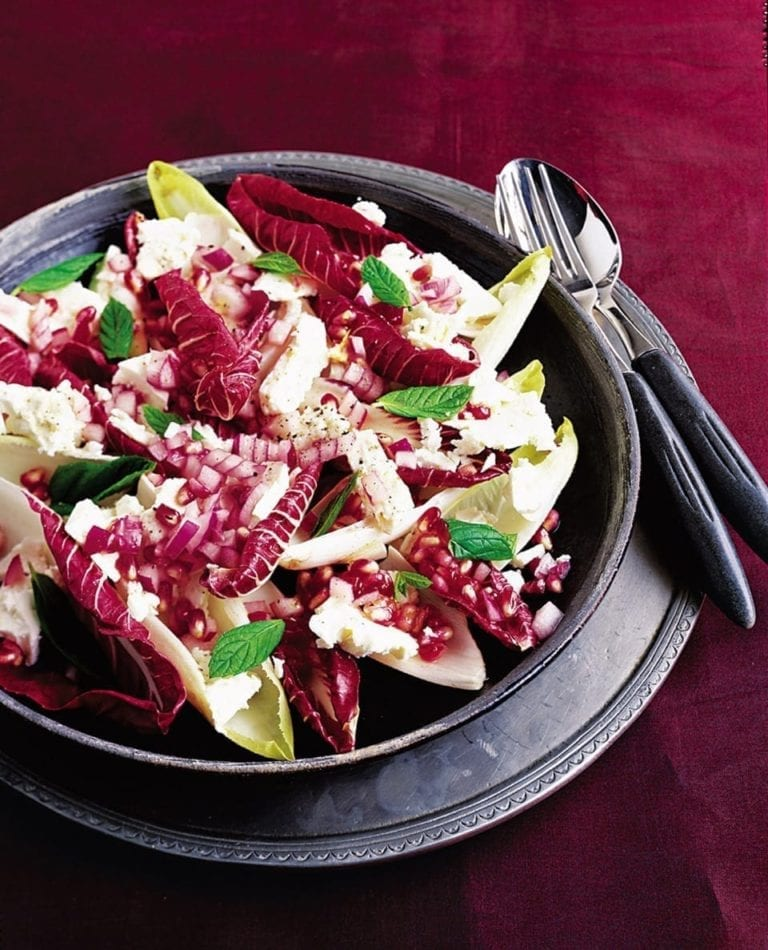 Feta and pomegranate salad