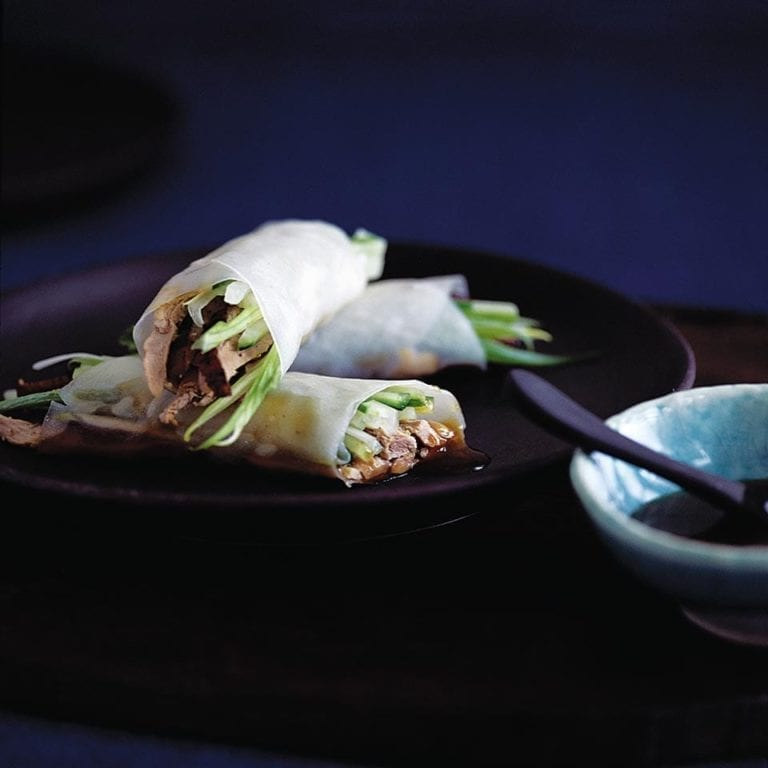 Peking duck rice paper rolls recipe