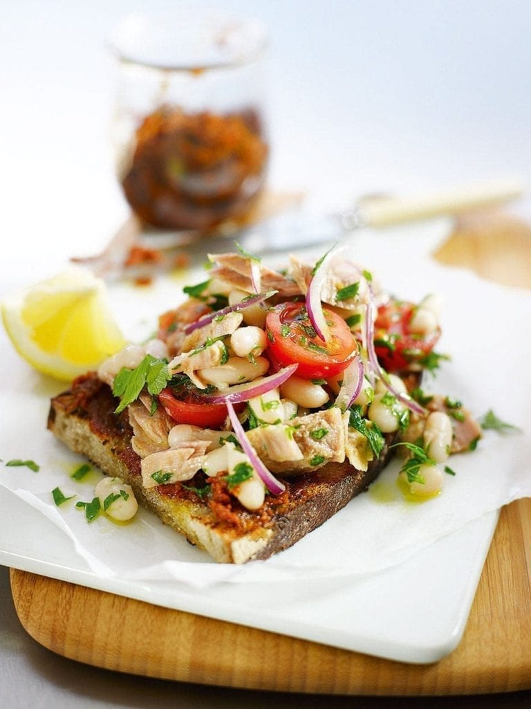 Tuna, cannellini bean and red onion salad on griddled tomato bread