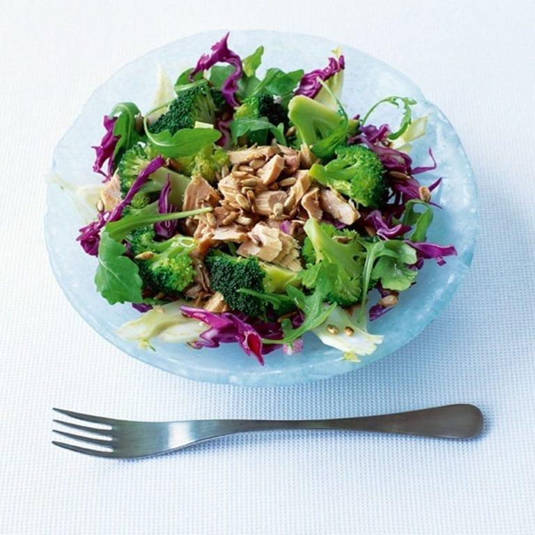 Broccoli, cabbage, fennel and tuna salad