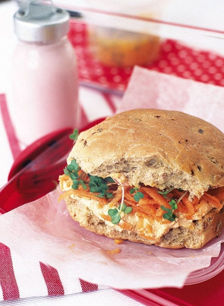 Houmous and carrot bap