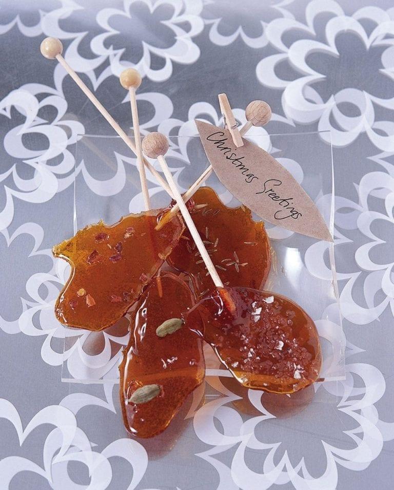 Spiced caramel lollipops