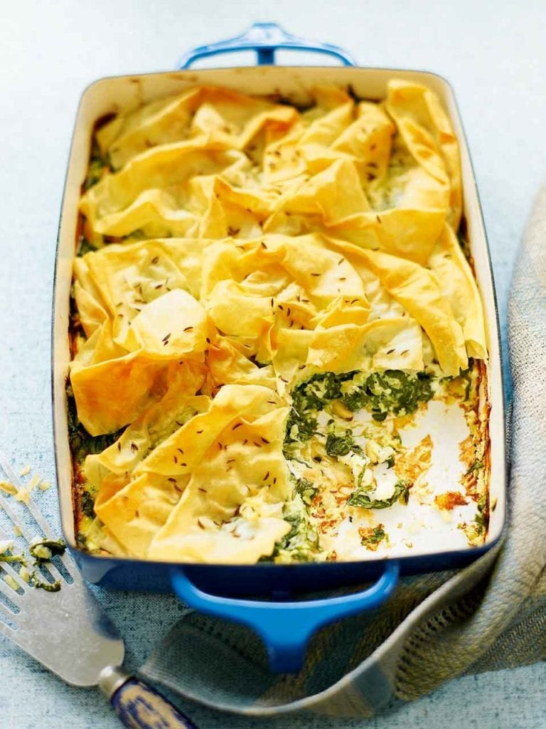 Spinach and feta filo pie