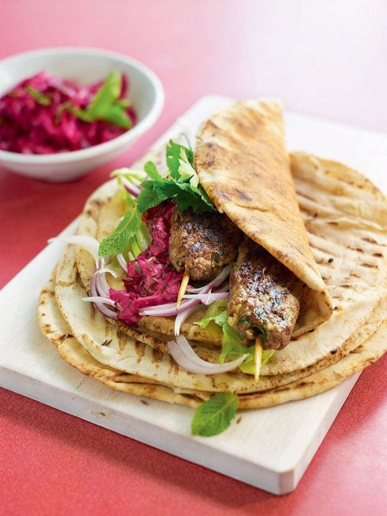 Souvlaki wraps with beetroot tzatziki